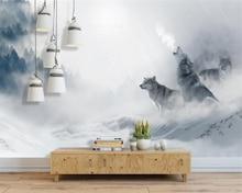 beibehang Custom 3d wallpaper mural nordic abstract fog forest wolf landscape wallpaper for living room papel de parede mural цена 2017