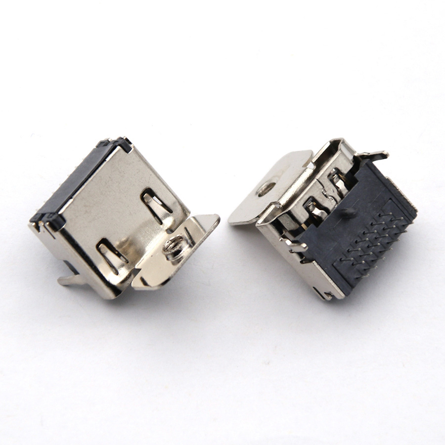 1pc 19 Pin HDMI Jack Female Socket Interface Connector 90 Degree 3 Rows Pin (7pin+6pin+6pin) With Fixed Screw Holes