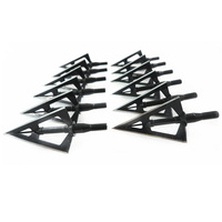 12PCs Wholesale Price Black Stainless Steel Broadhead 100grain 3 Sharp Blade