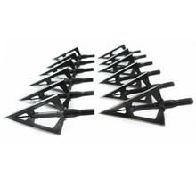 цена на 12PCs Wholesale Price  Black Stainless Steel Broadhead 100grain 3 Sharp Blade