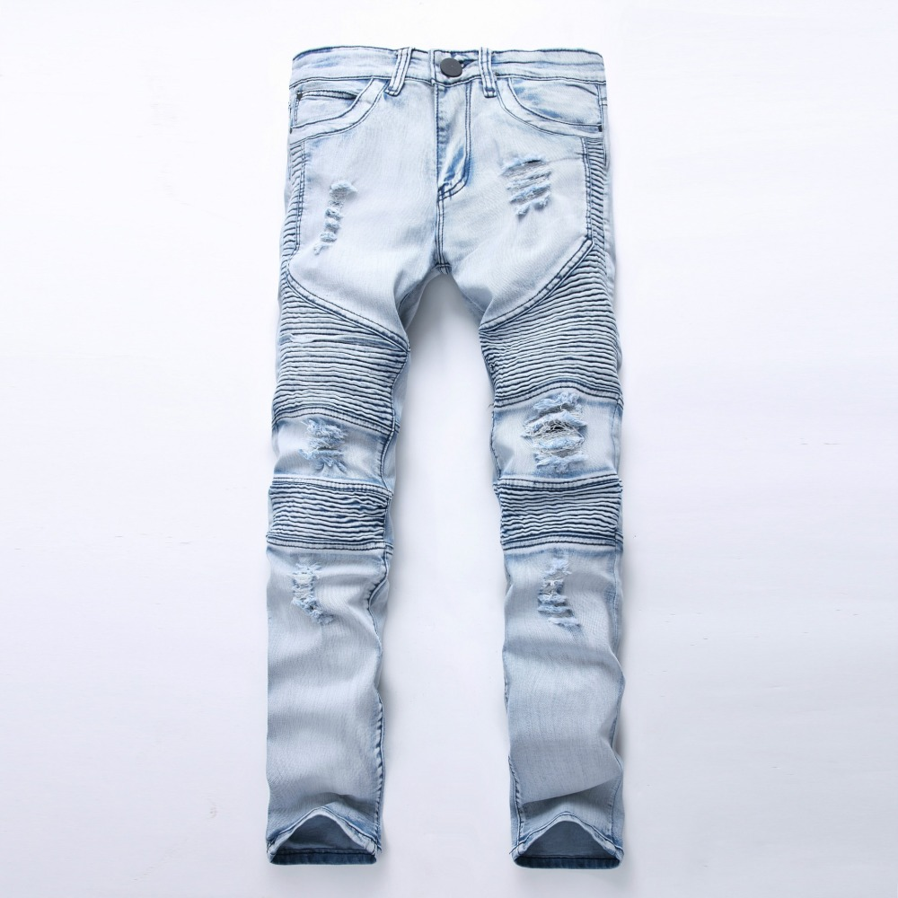 New Fashion Men jeans Washed Light blue Moto Denim Pants ...