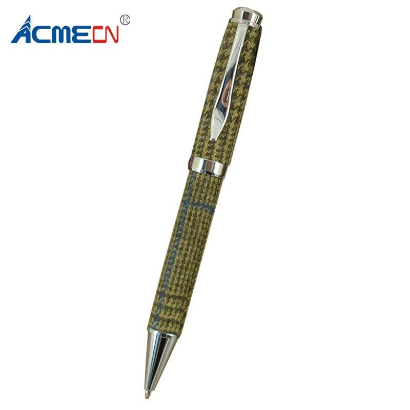 цена на ACMECN Checker Pattern Fabric Ballpoint Pen with Chrome Inlays British style Creative Business Pen Custom Logo Ball Point Pen