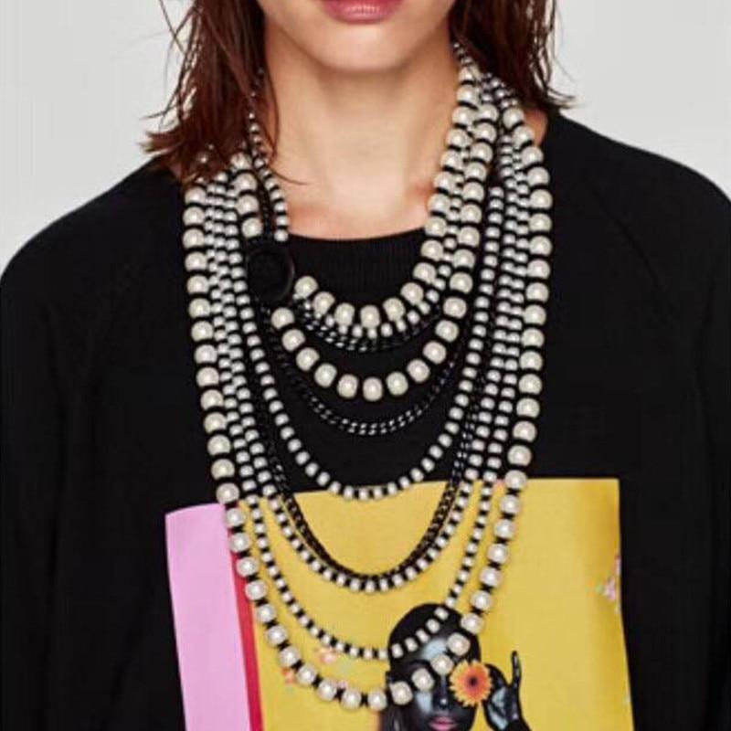 купить Best lady New Bohemian Layer Collar Choker Bijoux Pendant Long Necklace Jewelry Fashion Women Simulated Pearl Statement Necklace по цене 743.77 рублей