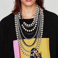 Beste dame Neue Böhmische Schicht Kragenchoker Bijoux Anhänger Lange Halskette Schmuck Mode Frauen Simulierte Perle Aussage Halskette