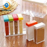 Acrylic Seasoning Box Storage Box Cruet 6pcs/set Transparent Russia Flavor Spice Jar Seasoning Jar Kitchen Condiment Box