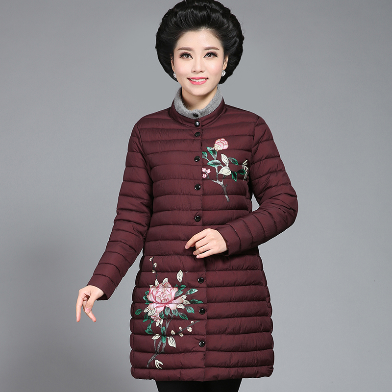 2017 Middle - aged and old women in winter long winter coat winter down jacket 2017 winter coat grandma installed in the elderly women 60 70 80 years old down jacket old lady tang suit