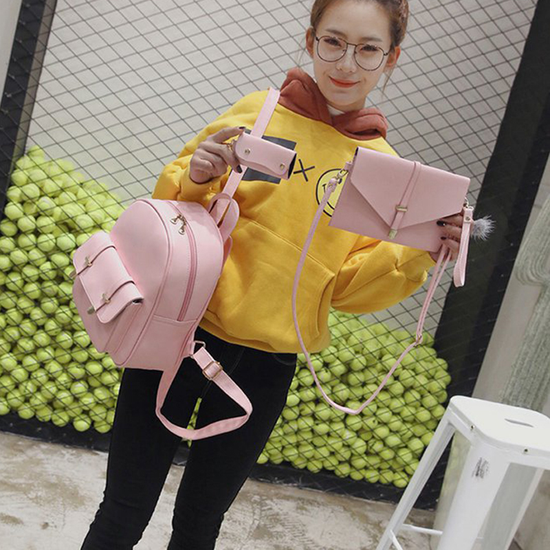 3pcs/Set Small Women Composite Bag Backpack Female Bags For Teenage Girls PU Leather Women Backpack Shoulder School Bag Purse