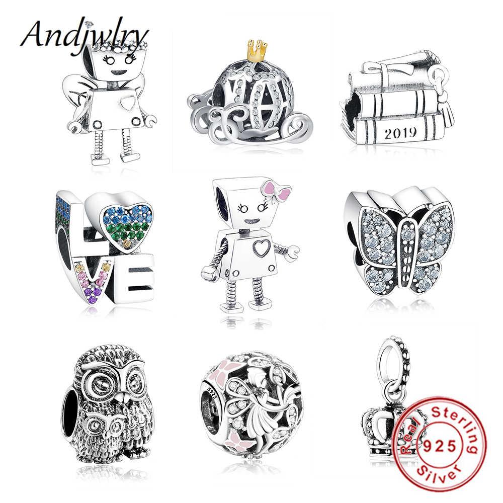 925 Sterling Silver Bot Robô Menina Bella Charme Serve Encantos Pandora Pulseira Original Bead Pingente DIY Fazer Jóias Berloque