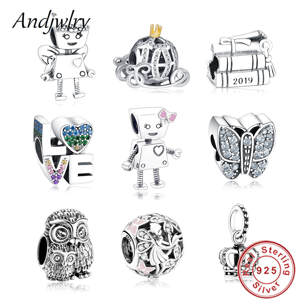 925 Sterling Silver Robot Girl Bella Bot Charm Fits Original Pandora Charms Bracelet Bead Pendant DIY Jewelry Making Berloque