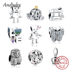 e1530d038374 925 Sterling Silver Robot Girl Bella Bot Charm Fits Original Pandora Charms  Bracelet Bead Pendant DIY
