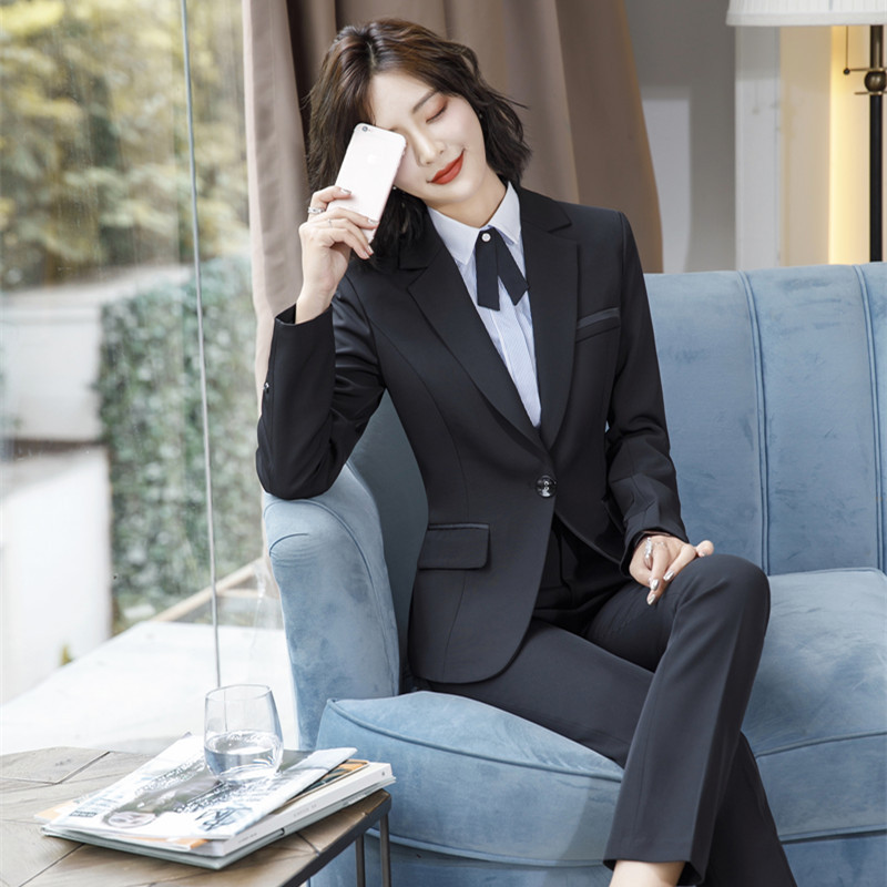 IZICFLY Spring Black Blazer Feminino Female Uniform Business Suits with Trouser Elegant Slim Office Suits for Women Clothing 4XL 46
