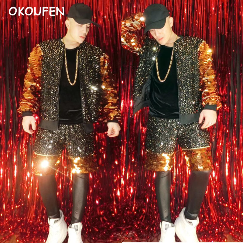 2018 New Men fashion Black Gold Mirror colorful costumes set Party show hip hop baseball clothes nightclub singer DJ wear