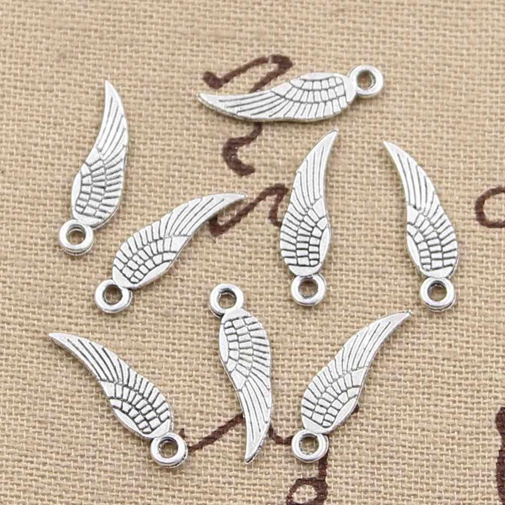 30 個チャーム天使の羽 19 × 5 ミリメートルアンティーク作るペンダントフィット、ヴィンテージチベットシルバーブロンズ、 diy 手作りジュエリー