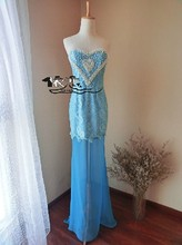 free shipping floor length party prom gown 2014 new hot&sexy vestidos de festa long blue long pearls lace evening Dresses blue blingbling lace sexy mermaid backless evening floor length vestidos de festa scoop prom dresses party evening dress