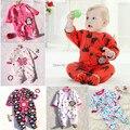 Бесплатная доставка 2014 зима новорожденных детская одежда флиса с длинными рукавами рождество одежда детские комбинезон мультфильм пижамы