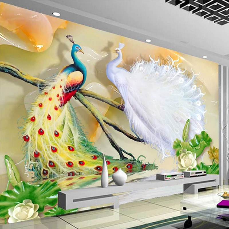 Custom Wall Cloth 3D Stereo Peacock Photo Murals Wallpaper Living Room TV Sofa Classic Study Background Wall Painting Home Decor