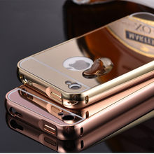 Luxury Noble Mirror Cases For iPhone 4 4G 4S Aluminum Frame + Hard PC Plating Arcylic Back Cover For iPhone 4S Metal Phone Cover(China)