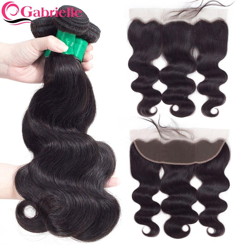 Gabrielle body wave bundles with frontal brazilian hair weave bundles 100 human hair closure with bundles