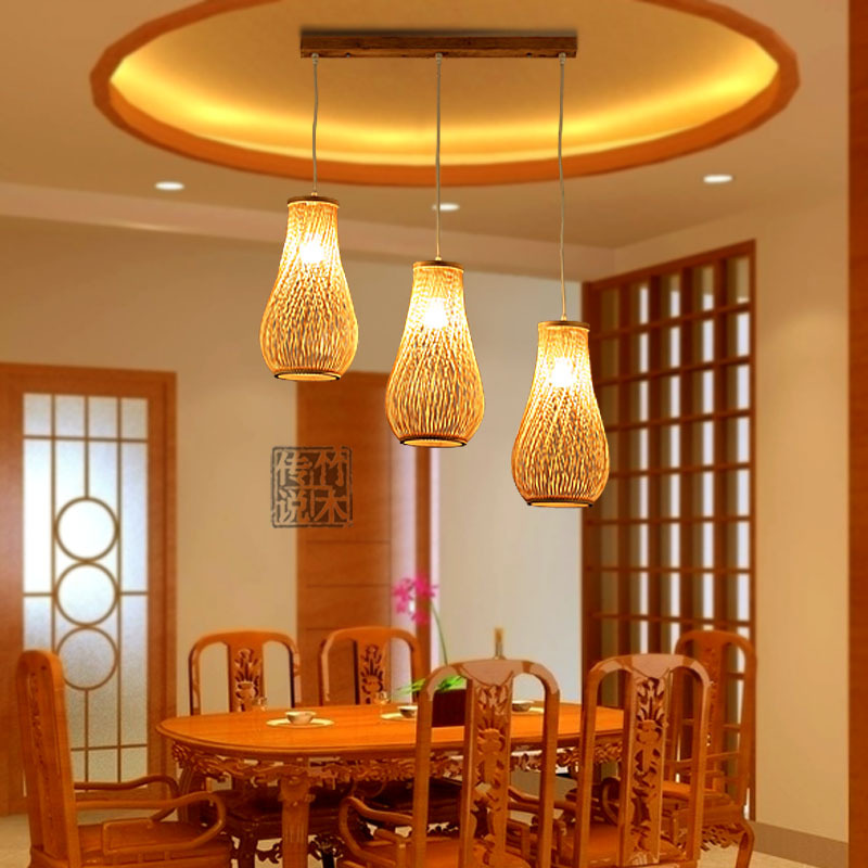 Race Three Months Minimalist Modern Southeast Asian Restaurant Dining Room Chandelier Lamp Lighting Bamboo Bar Creative