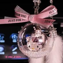 Хрустальный кошачий шар, автомобильный Модный кулон, интерьерные Стразы, украшение в виде зеркала заднего вида, Висячие Подвески, очаровательные Автомобильные украшения