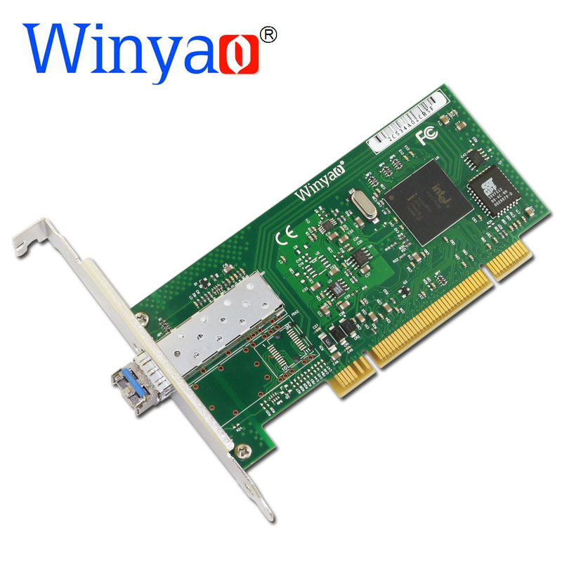 Winyao WY545DF-LX PCI Desktop Gigabit Fiber lan card for 82545 PWLA8490LX Single-Port SFP LC(1310nm) fiber 1000Mbps Network Card winyao wyi350t4 pci e x4 rj45 qual port server gigabit ethernet 10 100 1000mbps network interface card for i350 t4 4 port nic