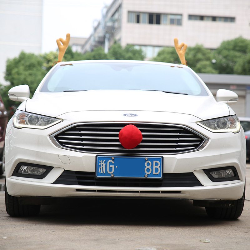 Christmas Present Car Ornaments Antlers Merry Christmas Auto Car