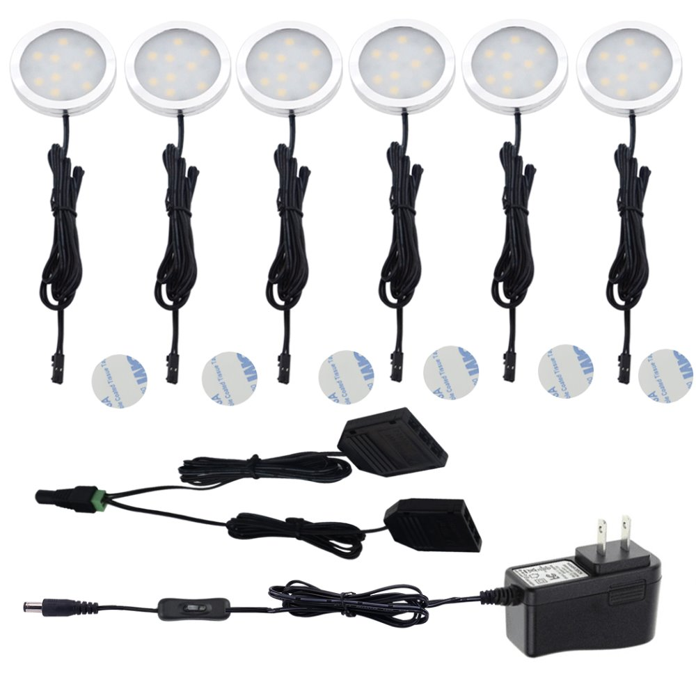 Aiboo Under Cabinet LED Puck Lights med 2-veisbryter 6 Puck lights Kit 12V Adapter for Kitchen Counter Closet Lighting
