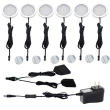 Aiboo Under Cabinet LED Puck Lights with 2-way Switch 6 Puck lights Kit 12V Adapter for Kitchen Counter Closet Lighting