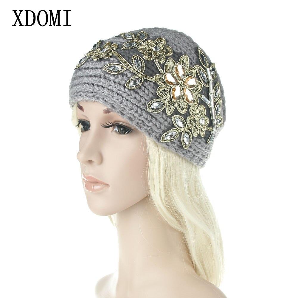 Women Wide Knitting Woolen Headband Winter Warm Ear Crochet Turban Hair Accessories For WomenGirl Rhinestone Hair Band Headwraps