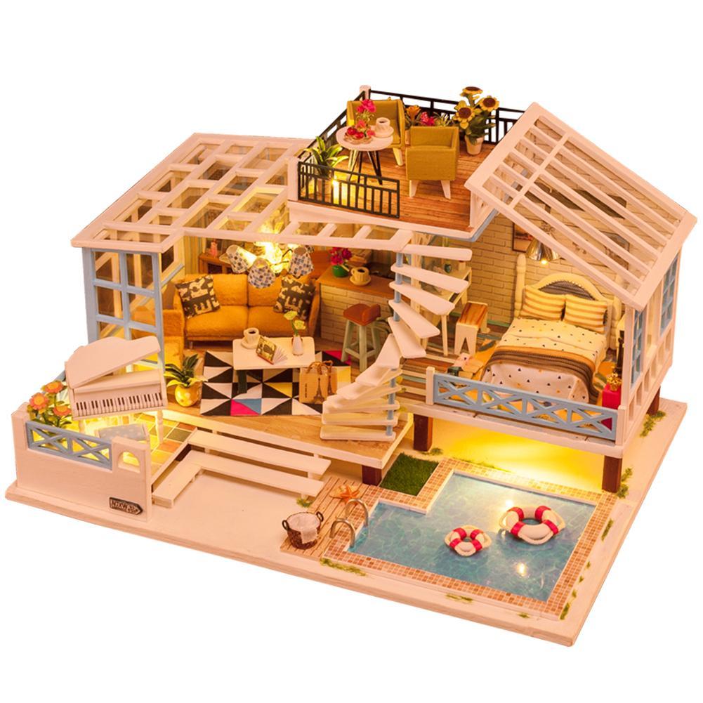 Bricolage cabine maison jouet éclairé enfants jouets éducatifs lumière musique mouvement accessoires de jeu de rôle vacances cadeau maison jouet créatif