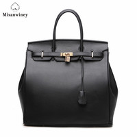 Wholesale Large Women Handbag 35cm Lock Bag Large Size Quality Pu Leather Black And White Lady