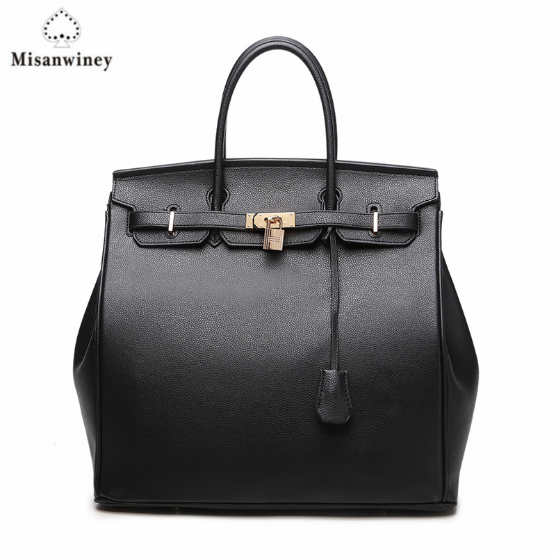 Wholesale large women handbag 35cm lock bag large size quality pu leather black and white lady purse casual tote Top-Handle Bags high quality authentic famous polo golf double clothing bag men travel golf shoes bag custom handbag large capacity45 26 34 cm