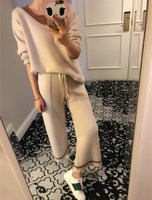 2019 Full O neck Arrival Women's Cashmere Suit Round Neck Pullover Sweater And Loose Knit Pants Two Sets Of Thick Wide Leg