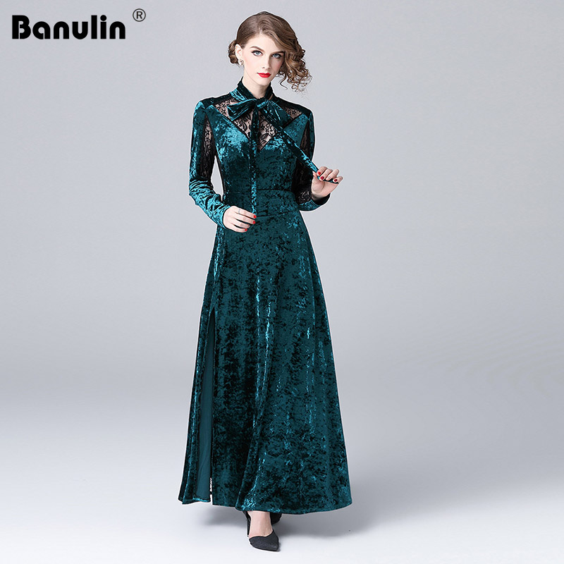 Banulin 2018 Runway Winter Dress Women Elegant Casual Long Sleeve Backless Ball Gown Dress Vintage Velvet Party Maxi Dresses