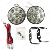 Car 9LED Round Daytime Running Light DRL With Automatic Switch 2686