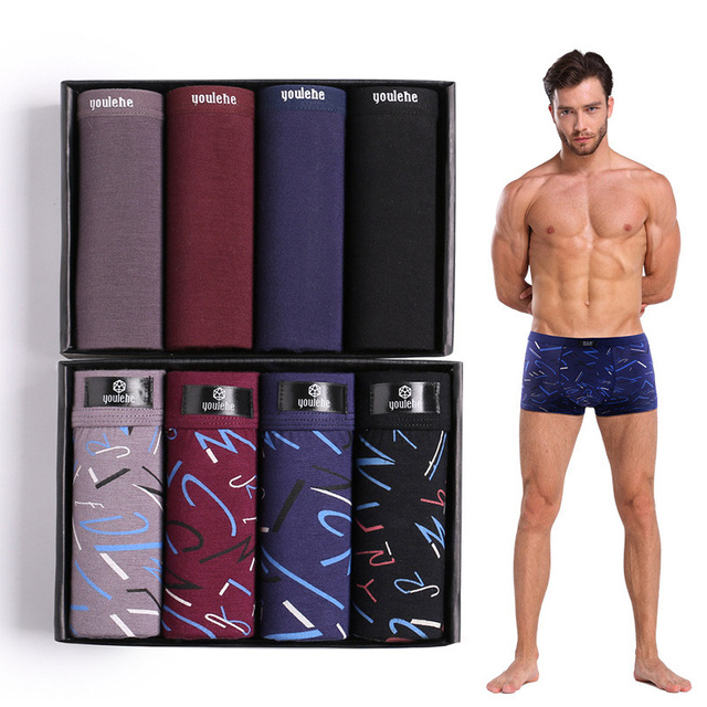 youlehe 8 pieces Fashion Underwear Boxers Mens Boxer Shorts Soft Male Panties Breathable Sexy Men Underpants Cuecas dropshipping