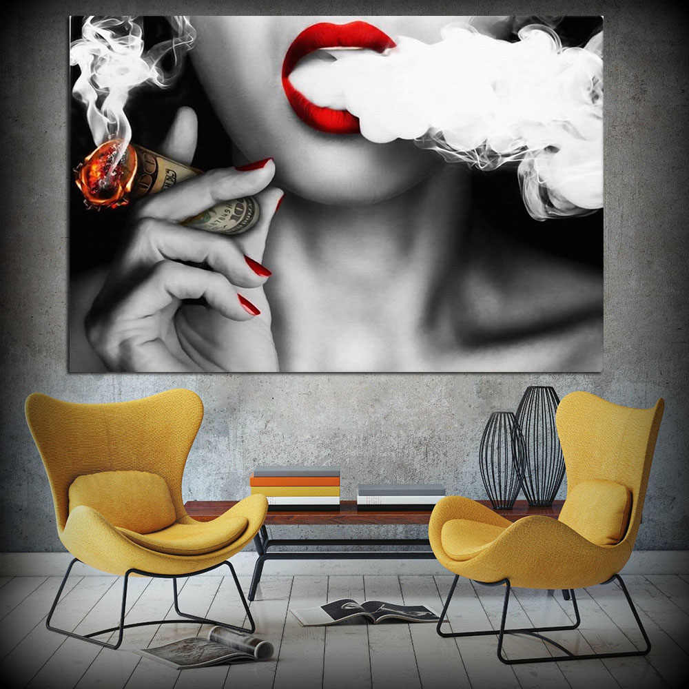Modern Red Nails Woman Lady with Money Smoke Art Canvas Wall Oil Painting for Bar Decoration Frameless Wall Art Picture