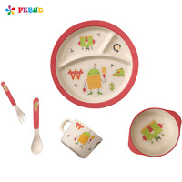 Bamboo Fiber Cartoon Printing Plate Children S Degradable Five Piece Tableware Set Forks Spoon Cup Tableware