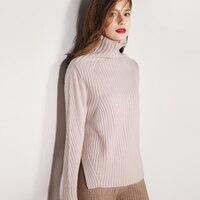 JECH Осенне зимняя обувь Новый 100% чистый кашемировый свитер в полоску спереди и сзади свитер с v образным вырезом Чистый цвет кашемировый свит