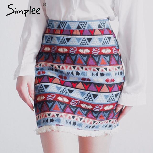 Simplee High waist skirts womens bottom Short boho style chic pencil skirt female Vintage sexy mini skirt 2017 summer beach