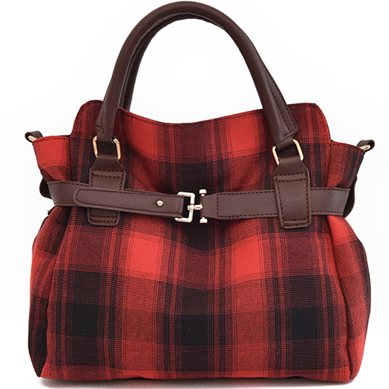 Amasie New Arrival Fashion Women Handbag Crossbody Bag Canvas Tote Plaid Red Color Sac Bolsas EGT0116 aosbos fashion portable insulated canvas lunch bag thermal food picnic lunch bags for women kids men cooler lunch box bag tote