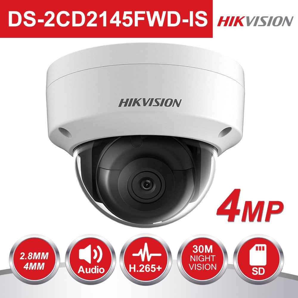 En Stock Hikvision PoE IP Caméra Extérieure DS-2CD2145FWD-IS 4MP CMOS IR Dôme CCTV Caméra de Sécurité 30 m Nuit version POE et Audio
