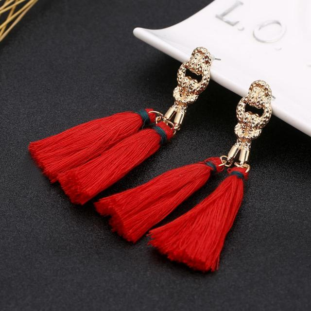 Bohemian Red Long Tel Earrings Handmade Drops Pendant For Women Statement Dangle Earring Fashion Jewelry