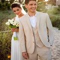 Beige Fashion men's Suits And Groom Best Man Groom Tuxedo (jacket + trousers + vest + tie) Custom Made To Order