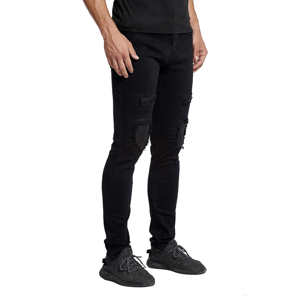 2017 New Men Motorcycle Knee Leather Biker   Jeans   Slim Stretch Elastic Destroyed   Jeans   H0391