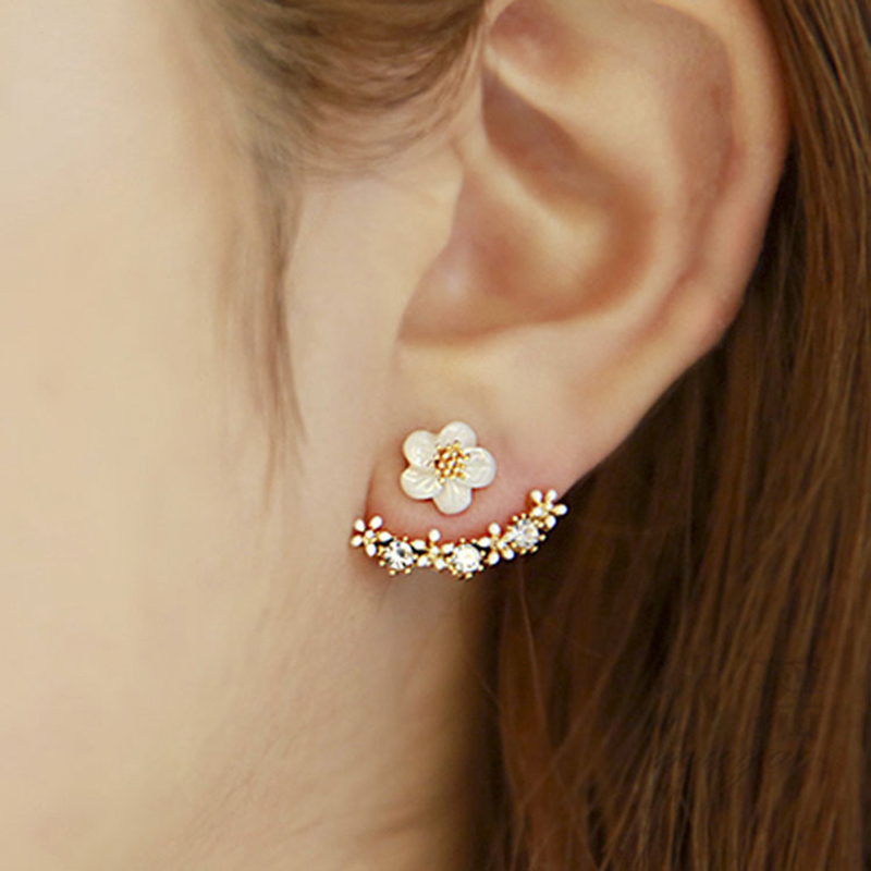Flower Crystals Stud Earrings For Women Rose Gold Color Double Sided Fashion Jewelry Earrings Female Gifts Accessories(China)