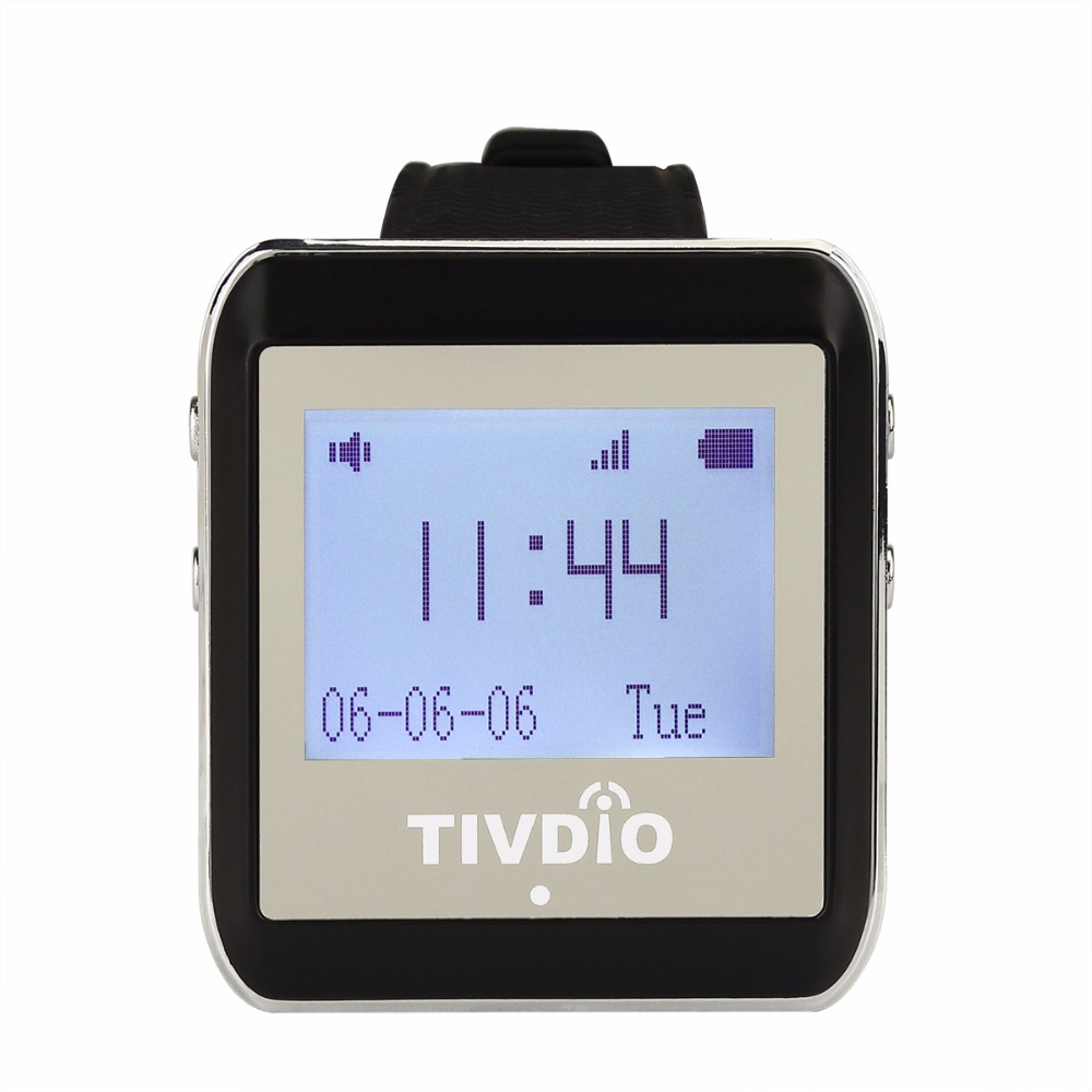 TIVDIO 2pcs 433MHz Wireless Pager Watch Receiver Waiter Call Pager Calling System for Restaurant Equipments F9404