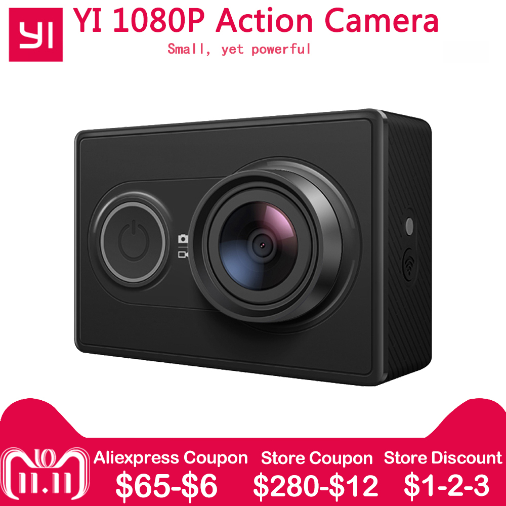 1080P Xiaomi YI Action Camera Sports Mini Camera 3D Noise Reduction WiFi BT4.0 16MP 60FPS Ambarella A7LS [International Edition] alocs ac p03 outdoor foldable cutting chopping board white