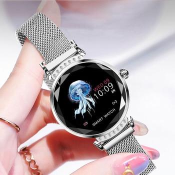 SCOMAS Newest Fashion H2 Smart Watch Women 3D Diamond Glass Heart Rate Blood Pressure Sleep Monitor Best Gift Smartwatch 4