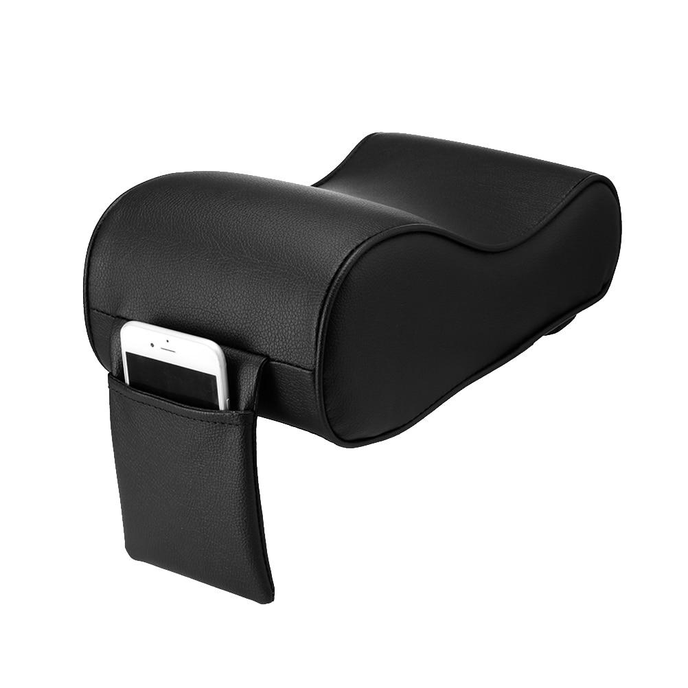 Universal Soft Leather Car Center Console Cushion Auto Armrest Pad Rest Pillow Mat (Black) A20
